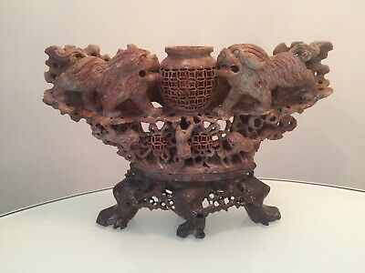 Stunning Large Chinese Soapstone Foo Dogs Carving