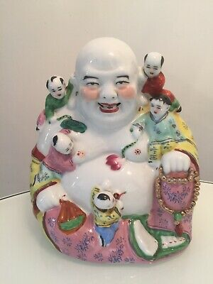 Stunning Large Vintage Chinese Porcelain Buddha With Children Signed Figure