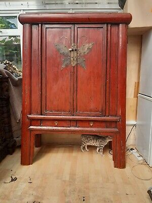 Antique Chinese Butterfly Marriage Cabinet Cupboard red lacquered