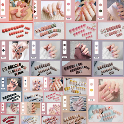 24PCS Fake Nails Reusable Stick On Nails Press on Full Cover False Nail Tips