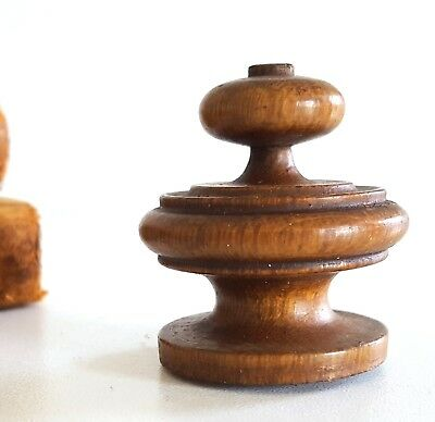 Small antique turned wood finial cap Salvaged reclaimed wooden topper 2.01
