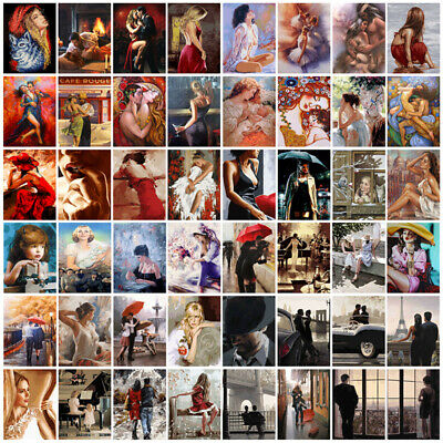 DIY Paint Home Decor By Numbers Kit Oil Painting Beauty Couple Lover Girl Wall