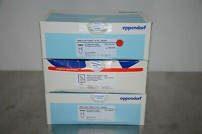 Eppendorf 022363204 Safe-Lock Tubes 1.5mL Natural LOT OF 3 PACKS/1500 Tubes