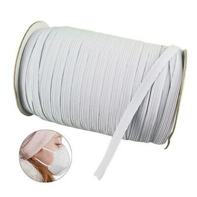 1/5 Inch Thin Elastic Band Trim for DIY Face Mask WHITE 5mm String Craft