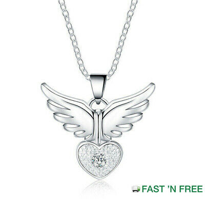 Quality 925 Sterling Silver Angel Wing HeartCrystal Gem Pendant NecklaceUK NEW