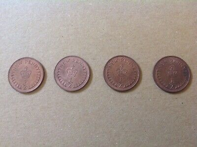 4 x 1/2p Coins - 1/2 Half Penny Coins UK Circulated coins 1971 - 1977 Royal Mint