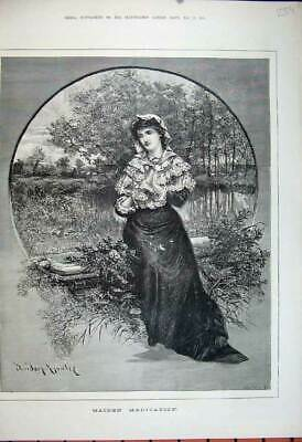 Old Antique Print 1881 Beautiful Young Women Sitting Garden Knowles Art 19th