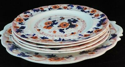 A set of 4 matching Imari plates and a matching serving plate