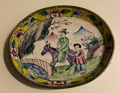 Estate Old Vintage Blue Cloisonne Enamel Brass Horse w Rider Small Tray Dish