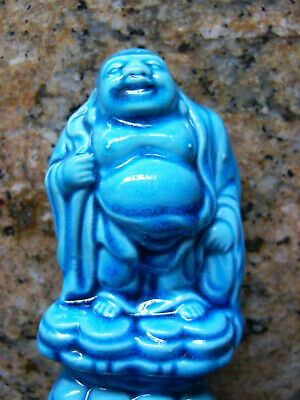 Chinese Porcelain Blue Glazed Buddha on Lotus
