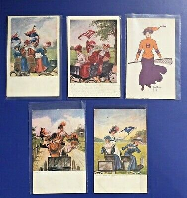 5 Lovely Ladies SCHOOLS / COLLEGES Antique Postcards 1906. For Collectors. NICE