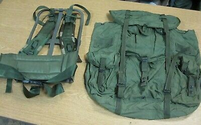 Used Complete USGI OD Green LC-1,2 Large Alice Field Pack + Frame,Kidney,Straps