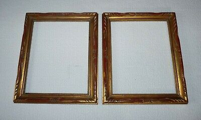 """Two Vintage 10"""" X 12"""" Wooden Picture Frames With Gold And Red Florentine Finish"""