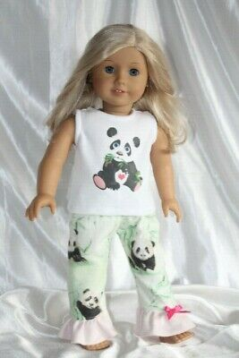 Doll Clothes fits 18inch American Girl Dress Pajamas Hearts Panda