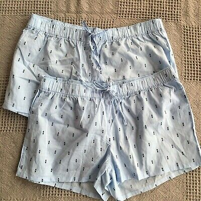 2 GAP Body Blue Print Lounge Pajama Pull-on Sleep Shorts Elastic Waist w Ties