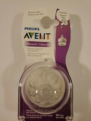 Philips Avent Natural Baby Bottle Nipple First Flow 2pcs For Preemies & Newborns