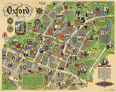 Pictorial Map Oxford London Historic Antique British Wall Art Poster Print Decor