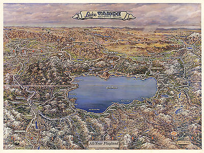 Early Mid-century Map Lake Tahoe California Nevada Wall Poster Vintage History