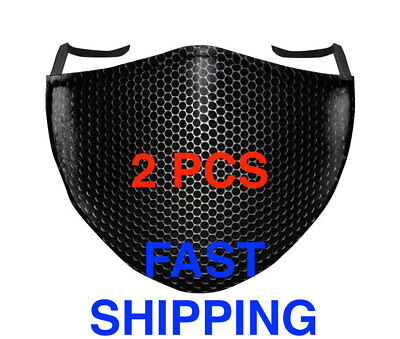 3 x Washable Black Face Mask Reusable Unisex Mesh 2 layers Mouth cover