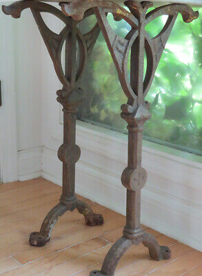 PAIR Antique Cast Iron Ornate Gothic Bench Table Base Legs Architectural Salvage