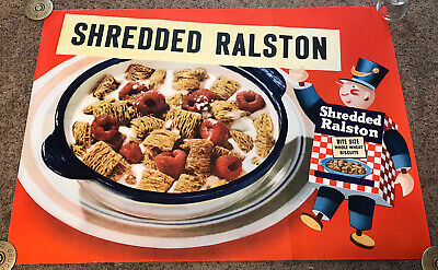 Original 1940's Shredded Ralston Wheat Biscuits Cereal Poster, 30x40