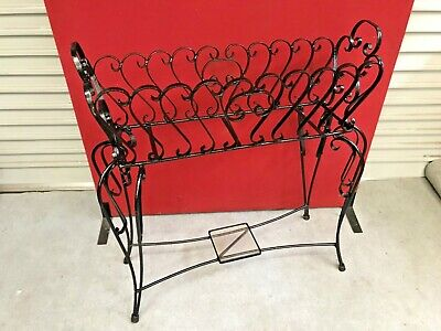 Large vintage wrought iron planter stand with samm glass shelf at bottom