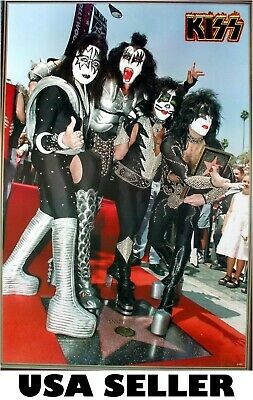 KISS gets its star on Hollywood walk POSTER 23.5 x 34 Ace Frehley Gene Simmons