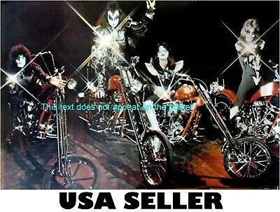 Kiss POSTER 20 x 29.5 all 4 riding motorcycles choppers Ace Frehley +BONUS! RARE