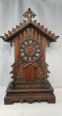Rare Large Black Forest Carved  Mantle Trumpeter Clock German G.H.S.F Automaton