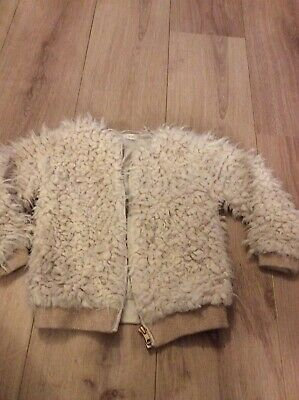 NEXT Girls Cream Fluffy Fur Jacket. Age 3 Years