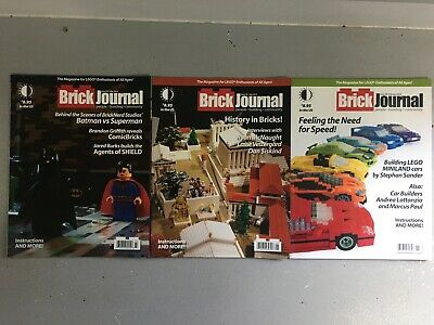 """Lot of 3 Different """"Brick Journal"""" LEGO Construction Magazines - Like New Unread"""