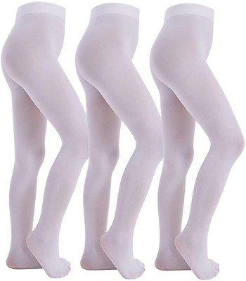 Manzi Ballet Tights For Girls Footed Dance Tights 3 Pairs Ultra-Soft Age 4-12