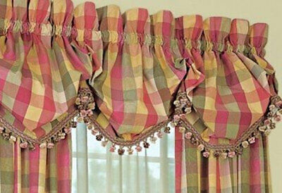 COUNTRY CURTAINS Moire Plaid Balloon Valance Rose Green Tassel fringe trim