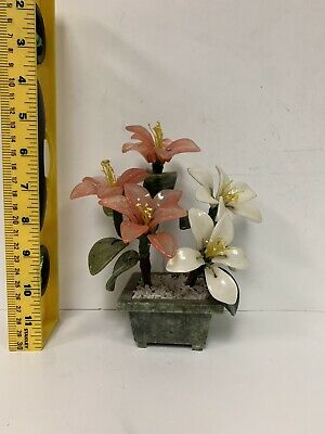 Oriental Asian Chinese Carved Jade Flower Tree Hand Made