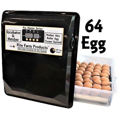 Rite Farm Products Pro Master Series 64 Chicken Egg Incubator & Hatcher Turner