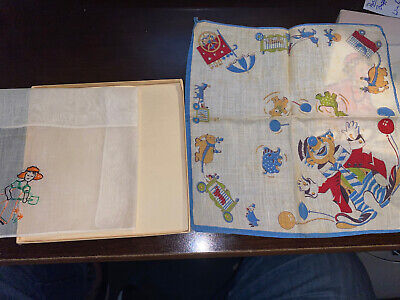 Vintage 1935 Birthday Hankies In Box 1 Print 1 Stitched Winter Themed