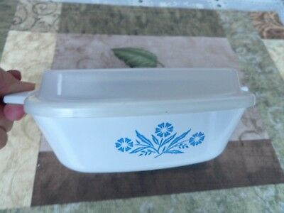 "Corning Ware New Petite Pan 1 3/4"" Blue Cornflower 5 1/4"" & used plastic lid"