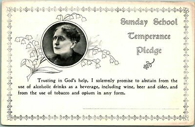 Vintage 1910s SUNDAY SCHOOL TEMPERANCE PLEDGE Card Prohibition Unused