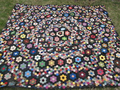 RARE 1890 ANTIQUE VICTORIAN FLORAL CRAZY QUILT TOP, Unusual HEXAGONAL PATTERN,