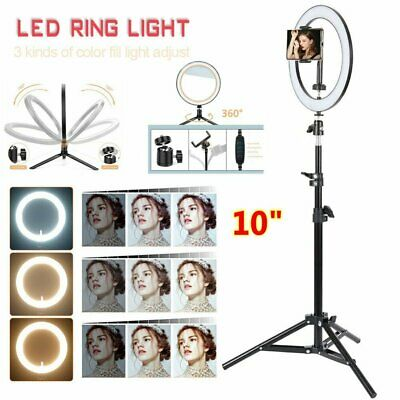"10"" Dimmable Selfie LED Ring Flash Light Stand Tripod  Photo Studio Make up Lamp"