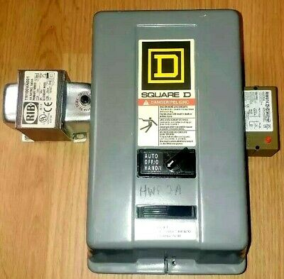 Square D Starter 8536 SBG1 CS Nema Size 0 W/Enclosure, RIB Transformer & Relay