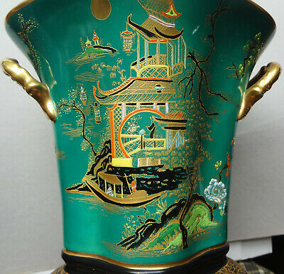 MONUMENTAL 1920-26 CARLTON WARE crown mark CHINOISERIE MIKADO pocket VASE 8 1/4""