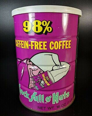 Vintage Chock Full O' Nuts Caffein-Free Coffee Empty One Pound Tin Pink Can
