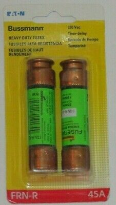 Bussmann FRN-R-45 Fuse - 45 Amp 250 Volt Dual Element Time Delay - 2 Pack - NEW!