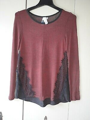 Society Girl with Black Lace Tunic Top - Size Medium BEAUTIFUL details