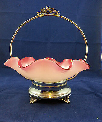 19C Cased Cranberry Glass Bowl with Rockford Quad Plate Brides Basket