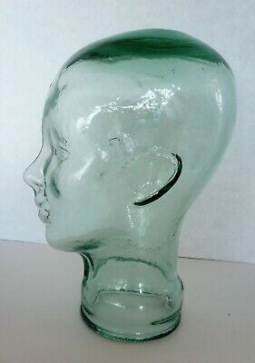 """Thick Clear Green Glass 12"""" Head Mannequin Wig Hat Headphones Display Stand"""