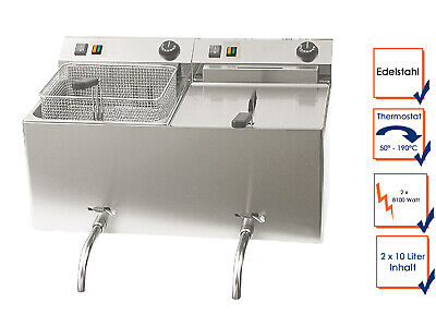 Catering Double Fryer 2x 10L Drain Tap, Electric Stainless Steel Deep