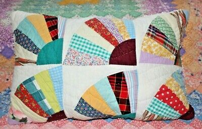 Lumbar Pillow From Vintage 1930s Cottage Chic Farmhouse Grandmothers Fan Quilt