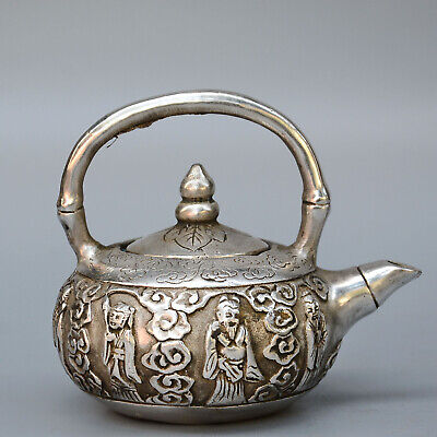 Collectable China Old Miao Silver Hand-Carved Eight Immortal Bring Luck Tea Pot